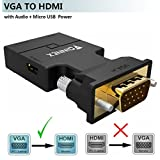 VGA to HDMI Adapter Audio (Old PC to TV/Monitor HDMI),FOINNEX Male VGA (D-Sub,15-pin) to HDMI Video Converter TV, Computer, Projector Audio Power Cable,Portable Size