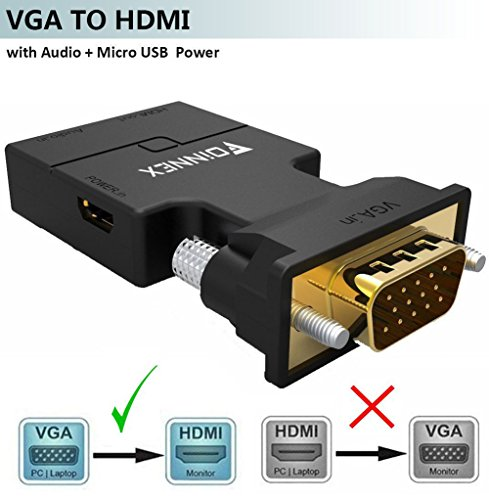 VGA to HDMI Adapter/Converter with Audio,(PC VGA Source Out to TV/Monitor with HDMI Connector),FOINNEX Active Male VGA in Female HDMI 1080p Video Audio Dongle Adattatore for Computer,Projector