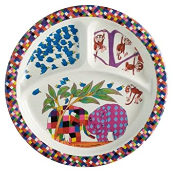 Elmer the Elephant Melamine Plate - Three Compartments  sc 1 st  Amazon.com & Amazon.com : Elmer the Elephant Melamine Plate - Three Compartments ...