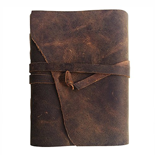 Leather Journal Writing Notebook, Antique Vintage Handmade Bound Daily Notepad, 7 x 5 inches, Unlined Paper, Best Gift for Art Sketchbook & Travel Steno Memo to Write in, -