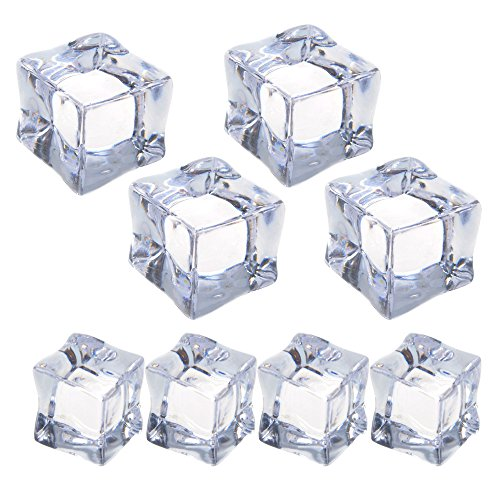 Cosmos ® 8 Pcs Fake Clear Acrylic Plastic Ice Cubes Square Shape for Display & - Ice Cube Ornament