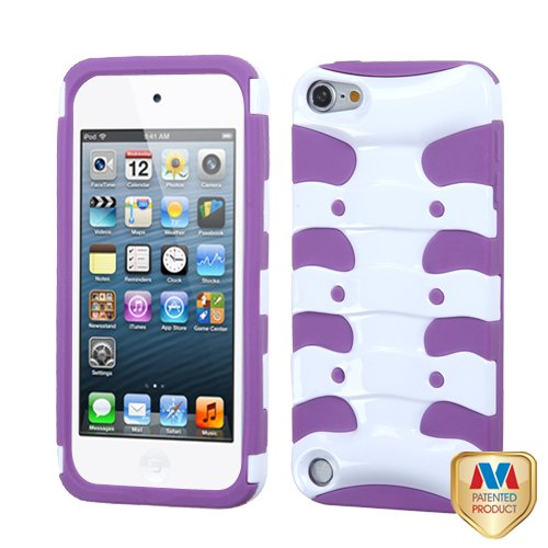 Asmyna Solid Ivory White/Electric Purple Ribcage Protector Cover for iPod touch 5