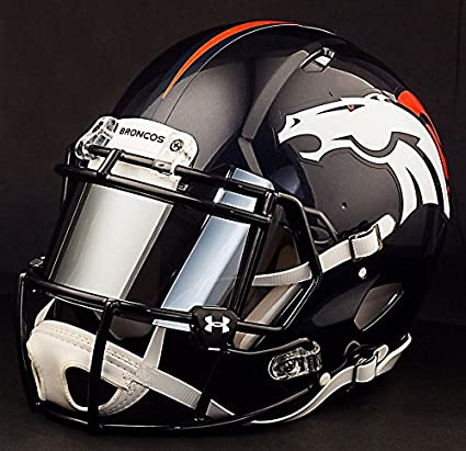 Riddell Speed DENVER BRONCOS NFL REPLICA Football Helmet with MIRRORED Eye Shield/Visor
