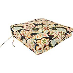 Jordan Manufacturing Company Fun Ebony Floral Pattern Deep Seating Cushion - Seat Only (Clearance Priced)