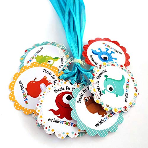 Thanks for Showering Our Little Monster Favor Tags for Baby Shower Party Celebration - Set of 12 ()