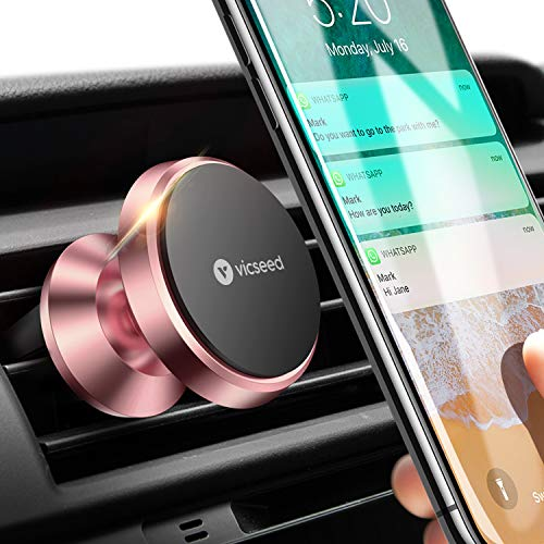 Car Phone Mount, VICSEED Magnet N52 Air Vent Mount 360° Rotation Car Phone Holder Cradle for Car Compatible with iPhone Xs Max XR X 8 Plus 7 Plus 6, Samsung Galaxy S10 S10+ S10e S9 S8 - Rose Gold