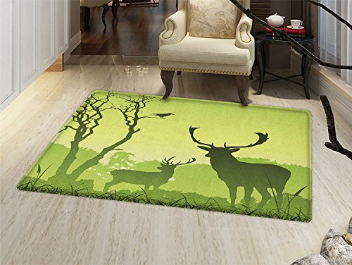 (smallbeefly Antlers Bath Mats for bathroom Male Deer on a Meadow with Trees and Crow Bird Woodland Mist Rural Green Country Print Door Mats for inside Non Slip Backing Green)