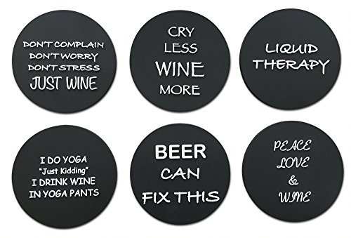 "6 Wine Coasters Funny Drink Premium Coasters for Beer Whiskey Cocktails and more. Large Size 4""x 4"" - Rubber Made no fade logo molded to last a lifetime (Black Round) (Walmart Round Glass Table Top)"