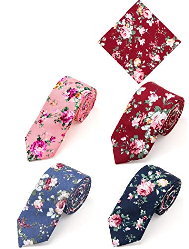 Elzama 5-pc Cotton Skinny Floral Print Tie Pocket Square Set for Special Event, Party, Wedding