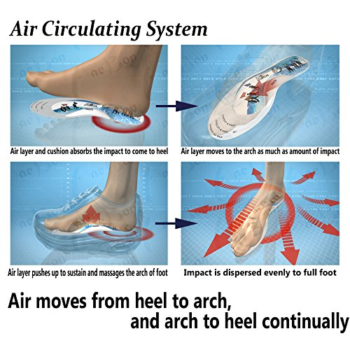 [Air Insole] (Walking for Women) 1 Pair Shoe Air Insole Arch Support Foot Sports Air Pad Cushion Insoles by Air Arch