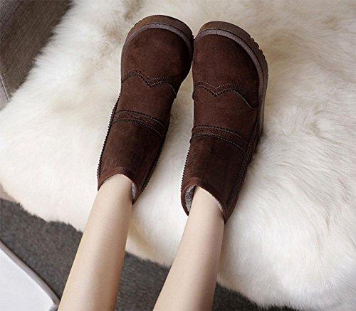 KUKI Damenschuhe, Damenstiefel, Stiefel, rutschfeste, Baumwollstiefel, Schneeschuhe, verdickt, warm, Damenstiefel, flache Schuhe, Stiefel, Mode, lässig, wild coffee color
