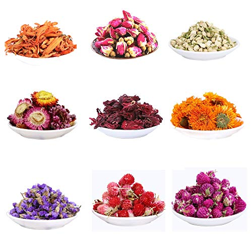 MISSYOUNG Dried Flowers for Soap Making Dried Flowers for Candle Making Dried Flowers for Bath Bombs Dried Botanicals and Herbs Rosebuds, Jasmine, Hibiscus, Lily, Myosotis, Marigold (9 Bags)