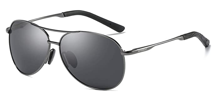 4ded38a8c4 WHCREAT Hombre Clásico Unisex Gafas De Sol Polarizadas con Ultra-Light  Marco de Metal HD Lente Mujer - Gris Metálico Marco Negro Lente: Amazon.es:  Ropa y ...