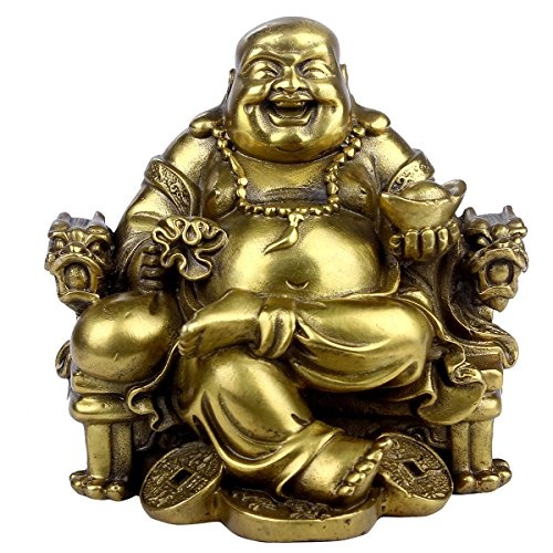 Feng Shui Handmade Maitreya Laughing Buddha Statue Sitting on Emperor s Chair Sculpture Home Indoor Outdoor Decorative Ornament