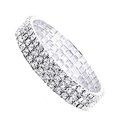 797a002ddd773 Rrunzfon Women Bracelet Exquisite 3 Rows Diamond Bangle Chic Fake ...