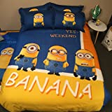 CASA Children 100% Cotton Minions Duvet cover and Pillow cases and Flat sheet,Duvet cover set,4 Pieces,Queen