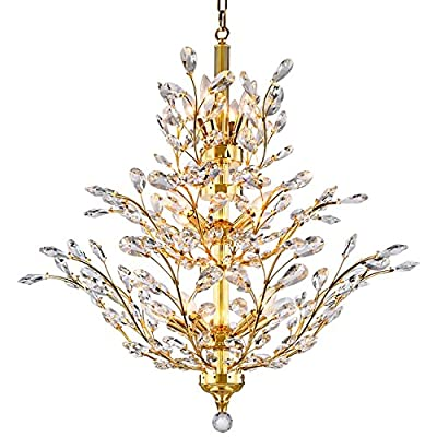 Joshua Marshal 700862-001 13 Light Crystal Chandelier Light Fixture In Gold Finish with Clear European Crystals