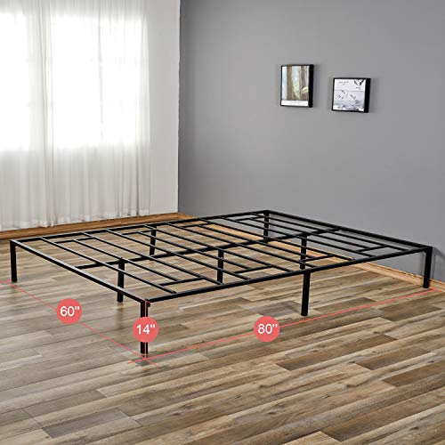 14 Inches Platform Bed Frame Queen Metal Platform Bed Frames, Queen Mattress Frame Foundation, Queen Bed Frame No Mattress Box Spring Needed with Quick Assembly Noise Free, Holds up to 3500 LBS