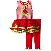 Rare Editions Baby Girls' Watermelon Tutu Legging Set, Red/White, 12 Months