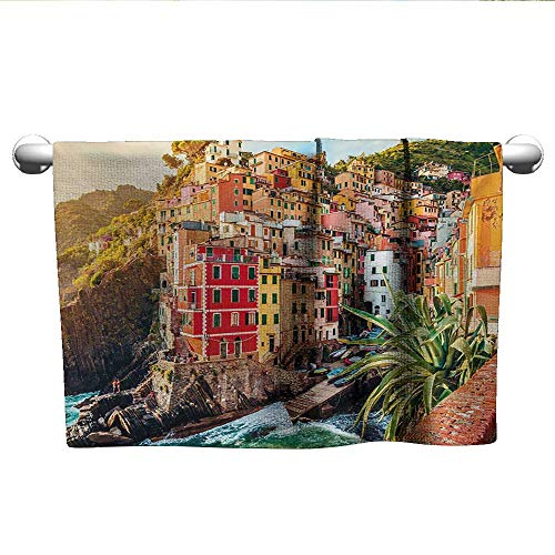 Italy,Baby Towels Riomaggiore at Sunset Cinque Terre National Park Cliff and Coast Scenic Panorama Bathroom Hand Towels Multicolor W 35