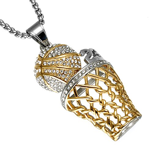 UNAPHYO Men's Stainless Steel Number 23 Mini Basketball Silver Gold Hip Hop Diamond Pendant Charms Necklace 24 Inches Chain