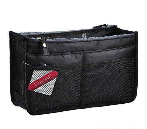 Vercord Updated Purse Handbag Organizer Insert Liner Bag in Bag 13 Pockets Black -