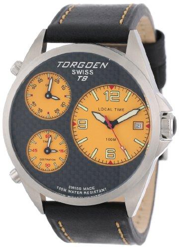 Torgoen Swiss Men's T08102 Triple Time Zone Carbon Fiber Leather Strap Watch