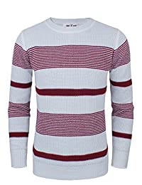 Tom's Ware Men's Slim Fit Horizontal Stripes Crew Neck Sweater