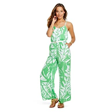 d42930006a1 Amazon.com  Lilly Pulitzer for Target Women s Satin Jumpsuit Green Boom  Boom XX-Large  Clothing