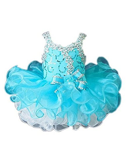 Leho Little Girls' Cupcakes Bow Crystals Short Toddler Birthday Dresses 4 US Turquoise