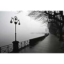 Lamp post and trees on a promenade along Lake Maggiore Locarno Ticino Switzerland Poster Print (19 x 12)