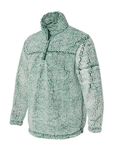 Green Sherpa - boxercraft Adult Super Soft 1/4 Zip Sherpa Pullover, Frosty Hunter, 3XL
