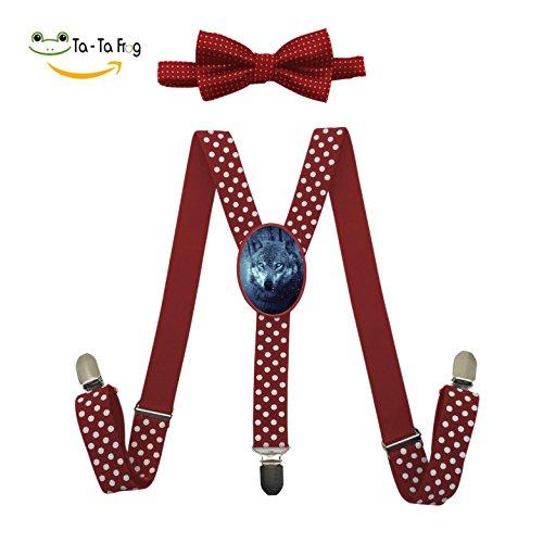 Snowfall Fantasy Wolf Adjustable Y-Back Suspender Custom Unisex Gallusus with Wave Point Bow (Fantasy Custom Costumes Co)