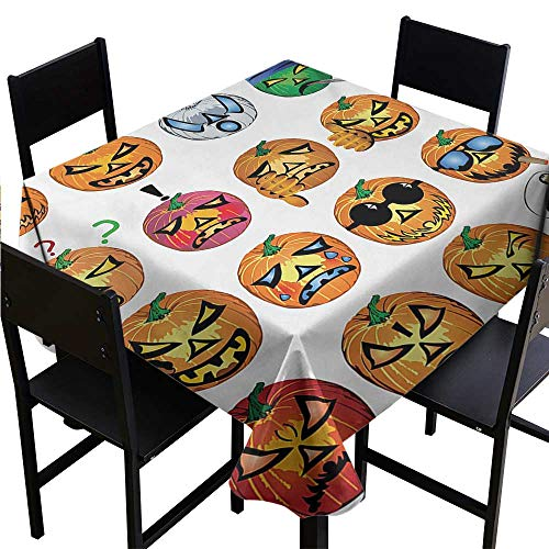 Loruoaine Tablecloth Clips Halloween,Carved Pumpkin with Emoji Faces