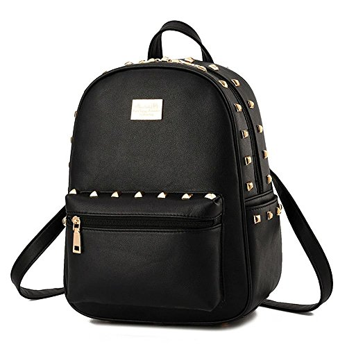 vanan-fashionable-girl-womens-rivets-backpack-convenient-sweety-daily-shoulders-bagsolidblack