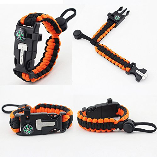 2PCS-PACK-Save4you-Multifunctional-Paracord-Bracelet-Adjustable-Size-Outdoor-Survival-kit-with-Compass-Fire-Starter-Whistle-Scraper-for-Hiking-Camping-Hunting-Orangeblack