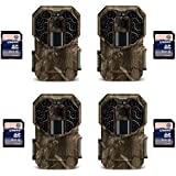 Stealth Cam G45NG 14MP IR No Glo Infrared Game Trail Cameras (4 Pack) + SD Cards