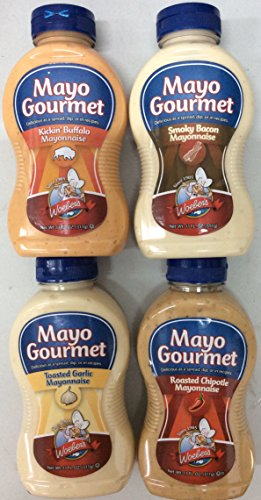 - Woeber's Mayo Gourmet Variety Pack 11 Fl.Oz each - Pack of 4 Mayonnaise - (1 Smoky Bacon, 1 Roasted Chipotle, 1 Toasted Garlic, 1 Kickin' Buffalo)