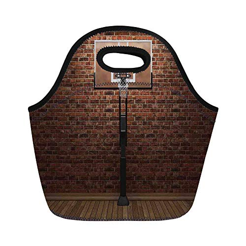 Sports Decor Durable Lunch Bag,Old Brick Wall and Basketball Hoop Rim Indoor Training Exercising Stadium Picture Print for School Office,11.0
