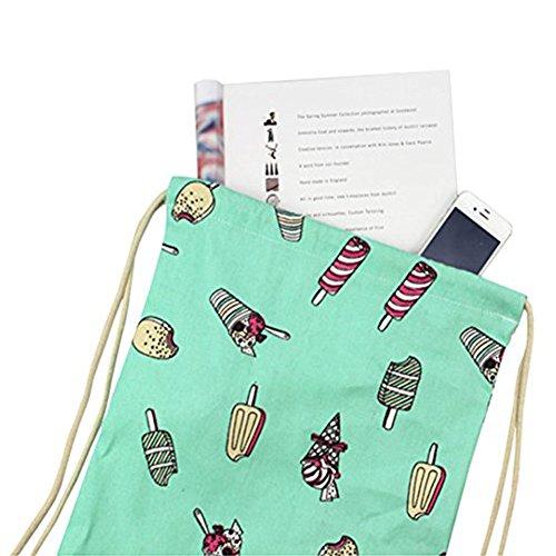 laat Zaino in cotone tela borsa a tracolla casual borsa per la spesa verde chiaro