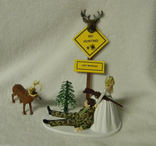 Wedding Humorous Camo Redneck Deer Hunter Hunting Cake -