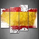 4 Panel Yellow In The Flag Of Spain Wall Art Painting Pictures Print On Canvas Art