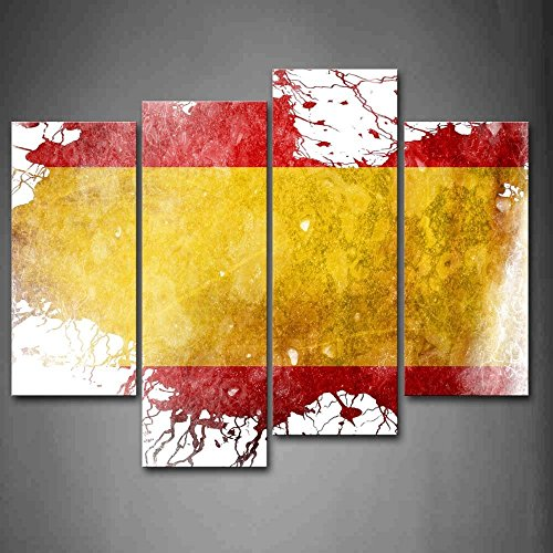 4 Panel Yellow In The Flag Of Spain Wall Art Painting Pictures Print On Canvas Art by Crystal Emotion