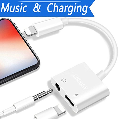 Lightning Jack Headphone Adapter for iPhone7/7Plus iPod/iPad/X iPhone 8/8Plus 2 in1 Earbuds Audio to 3.5mm Aux Splitter Adaptor Headset Earphone.Support Audio + Charge +Compatible all iOS Systems -