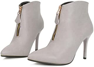 Pompe 8.5cm Stiletto Pointe Toe Zipper Bottines Bottes Martin Bottes Chaussures Sweet Pure Color Bootie Chaussures Ol Court Eu Taille 35-40