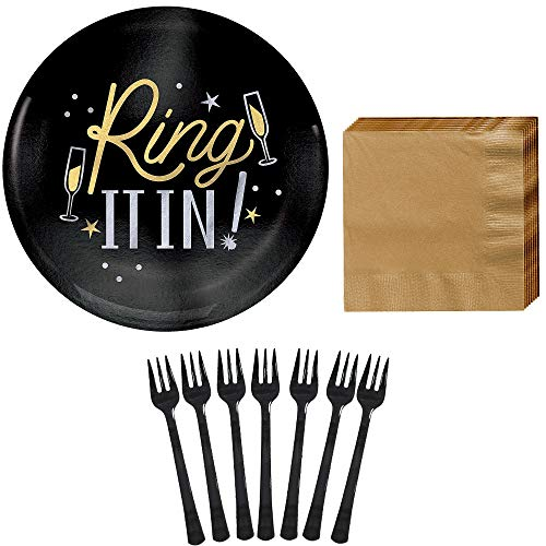 Party City Ring It in New Year's Eve Appetizer Kit for 40 Guests, Party Supplies, Includes Plates, Napkins and Forks -