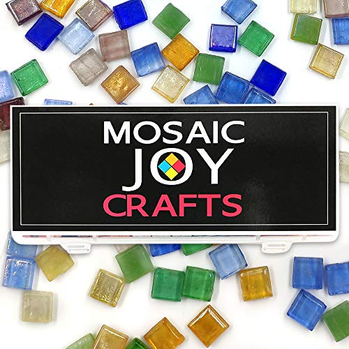 Mosaic Tiles for Crafts 10 Colors Assorted 11oz Stained Glass for Home Decoration Crafts Sparkle Mosaic Supply DIY Square Shape 0.4x0.4 inch by Mosaic Joy (10 Colors, Transparent)