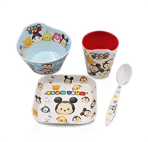 Finex Set of 4 - White Tsum Tsum Meal Set - Cup, Spoon, Bowl, Plate Kids Dinner Meal Dishes Feeding set for toddlers Microwave Dishwasher safe
