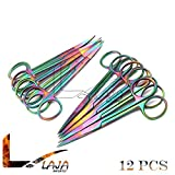 LAJA Imports Set of 12 Multi Titanium Color Rainbow Iris Scissors 4.5'' Straight & Curved Stainless Steel
