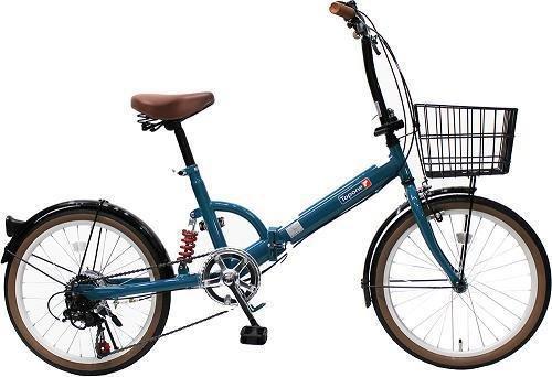 トップワン(TOP ONE) 20インチ折畳み自転車 シマノ外装6段ギア リアサスペンション カゴカギライト付 ターコイズブルー FS206LL-37-TB ブラックモカオリーブパールホワイトレッドターコイズブルー B00F2EVOAO